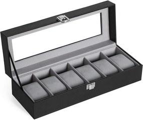 Cutie de bijuterii pentru 6 ceasuri, două culori - gri, alb