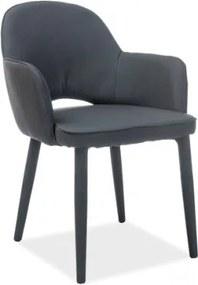 Scaun tapitat cu stofa si picioare metalice Robin Negru, l57xA50xH84 cm