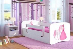 copii pat cu barieră Ourbaby - prințesă cu tailstock - alb 180x80 cm pat fără spațiu de depozitare