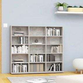 801791 vidaXL Dulap pentru CD-uri, gri beton, 102 x 23 x 89,5 cm, PAL