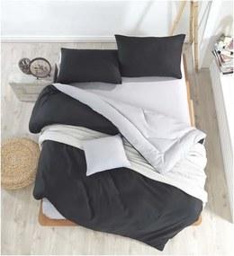 Lenjerie de pat cu cearșaf Permento Masilana, 200 x 220 cm, negru-gri