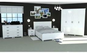 Dormitor Dynasty Alb cu pat 140x200 cm