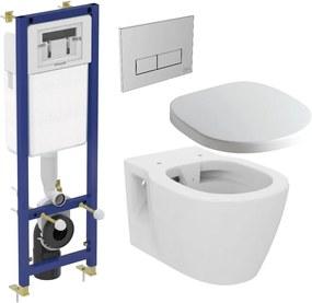 Set vas WC suspendat Ideal Standard Connect Rimless, capac inchidere lenta si rezervor incastrat cu clapeta crom