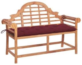 3062259 vidaXL Bancă de grădină cu pernă roșu vin, 120 cm, lemn masiv tec
