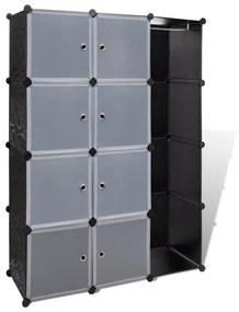 240497 vidaXL Dulap modular cu 9 compartimente, 37x115x150 cm, negru și alb