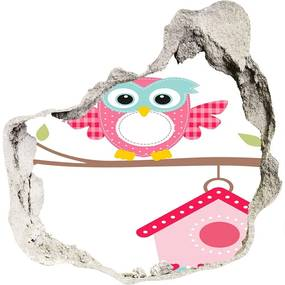 Autocolant de perete gaură 3D Owl pe o ramură