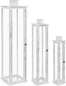Set 3 felinare lemn metal alb antichizat Ottawa 30 cm x 30 cm x 129 h
