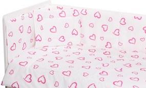 Lenjerie patut cu 5 piese Inimioare roz