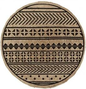 Covor rotund din iuta CECILE 100cm, natur/ negru
