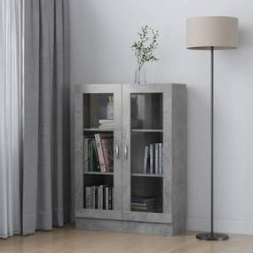 802754 vidaXL Dulap cu vitrină, gri beton, 82,5 x 30,5 x 115 cm, PAL