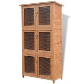 Cușcă din lemn cu 6 camere pentru iepuri și alte animale