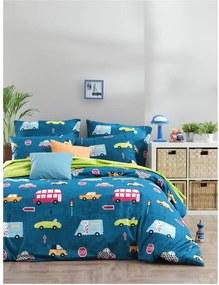 Lenjerie de pat cu cearșaf din bumbac ranforce, pentru pat dublu Mijolnir Paula Blue, 160 x 220 cm
