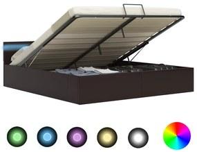285557 vidaXL Cadru pat hidraulic cu ladă LED gri 180x200 cm piele ecologică