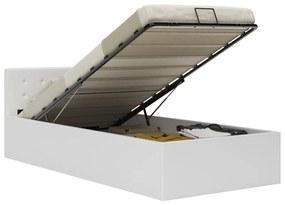 285517 vidaXL Cadru pat hidraulic cu ladă, alb, 100 x 200 cm, piele ecologică
