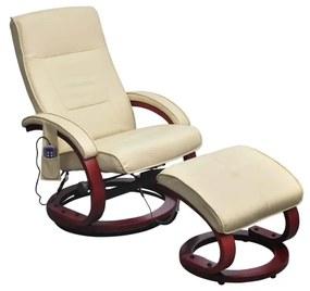 240066 vidaXL Fotoliu de masaj cu taburet, crem, piele ecologică