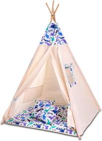 Cort copii stil indian Teepee Tent Kidizi Blue Dino, include covoras gros si 2 perne