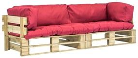 275298 vidaXL Set canapea grădină paleți cu perne roșii, 2 piese, lemn pin