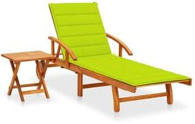 3061628 vidaXL Șezlong de grădină cu masă și pernă, lemn masiv de acacia