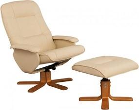 Fotoliu recliner Nice cu taburet, piele sintetica, crem