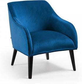 Fotoliu albastru din catifea cu picioare negre Lobby La Forma