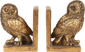 Set 2 suporturi carti polirasina auriu vintage Bufnita 12 cm x 8 cm x 16 cm