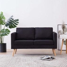 281359 vidaXL Canapea cu 2 locuri, negru, material textil