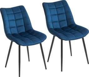 HOMCOM Set 2 Scaune Moderne Captusite pentru Sufragerie Stil Nordic Catifea Albastru