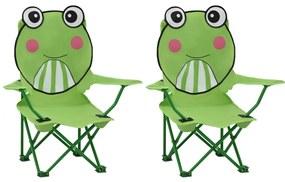 48106 vidaXL Scaune de grădină pentru copii, 2 buc., verde, material textil