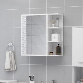 803314 vidaXL Dulap de baie cu oglindă, alb extralucios, 62,5x20,5x64 cm, PAL