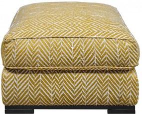 Taburet patrat galben/alb din textil si lemn 81x81 cm Metro