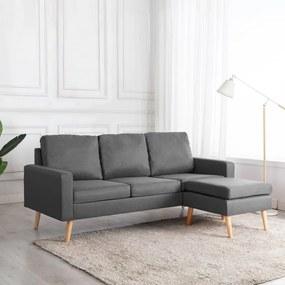288723 vidaXL Canapea cu 3 locuri și taburet, gri deschis, material textil