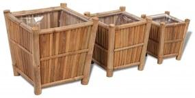Set 3 ghivece din lemn de bambus căptușite cu nylon
