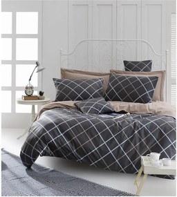 Lenjerie de pat cu cearșaf din bumbac ranforce, pentru pat dublu Mijolnir Ride Brown, 160 x 220 cm