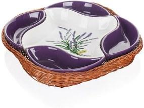 Set servire în coș de răchită Banquet Lavender 5 piese