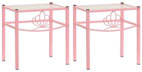 325111 vidaXL Noptiere, 2 buc., roz și transparent, metal și sticlă