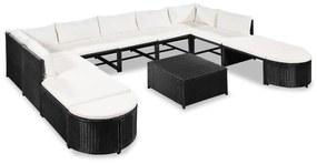 44194 vidaXL Set mobilier de grădină cu perne, 12 piese, negru, poliratan