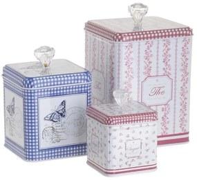 Set 3 cutii depozitare metalice Romantic