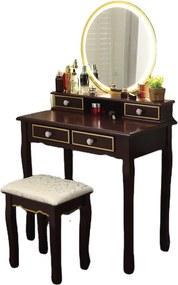 Set Bianca, Masă de toaletă pentru machiaj cu oglindă iluminată LED, 4 sertare, scaun, Maro