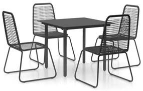 3060131 vidaXL Set mobilier de grădină, 5 piese, negru, ratan PVC