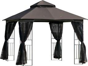 Outsunny Foisor de Gradina 3x3m cu acoperis dublu si plasa de tantari, in Metal Negru