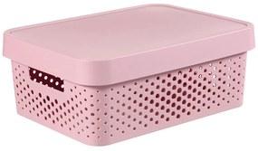 Cutie din plastic roz, cu capac, 11 litri