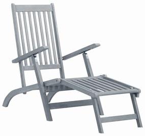45957 vidaXL Șezlong de exterior, cu suport picioare, gri lemn masiv acacia