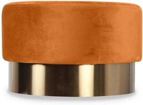 Taburet portocaliu din catifea cu baza aurie din metal 55x35 Serge Opjet Paris
