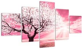 Tablou cu pomul roz (125x70 cm), în 40 de alte dimensiuni noi