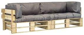 275297 vidaXL Set canapea grădină paleți cu perne gri, 2 piese, lemn de pin