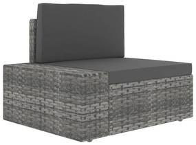 49520 vidaXL Canapea de colț modulară cu cotieră dreapta, gri, poliratan