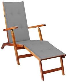 3064015 vidaXL Șezlong exterior, suport picioare și pernă, lemn masiv acacia