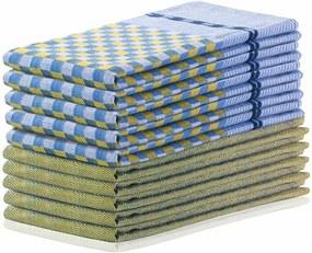 DecoKing Prosop bucătărie Louie, galben și albastru, 50 x 70 cm, set 10 buc.