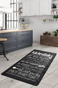 Covor pentru bucatarie Kitchen Motto Negru - 100x200 cm