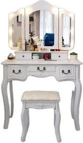 Set Elisabeta, Masă de toaletă cu 3 oglinzi iluminate LED, control touch, 5 sertare, scaun, Alb